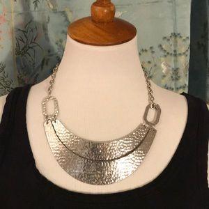 Hammered Metal Bib Necklace